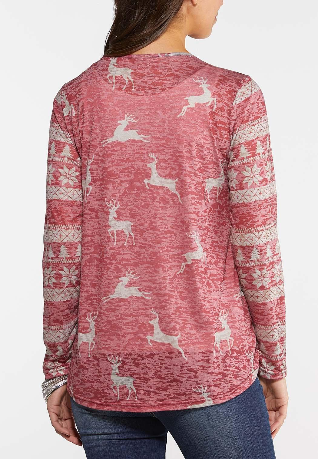 Plus Size Reindeer Raglan Top (Item #44077387)