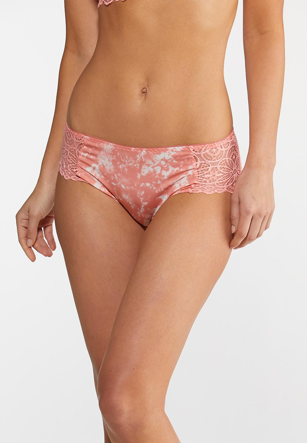 Plus Size Coral And White Lace Panty Set (Item #44077522)