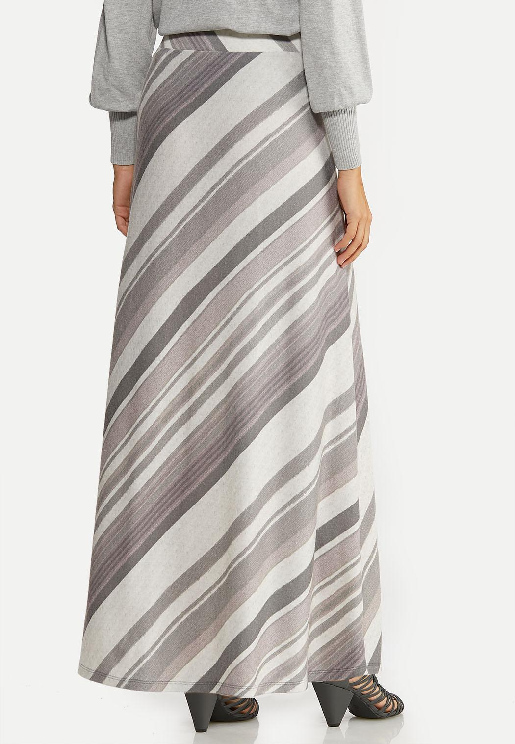 Plus Size Gray Stripe Maxi Skirt (Item #44077563)