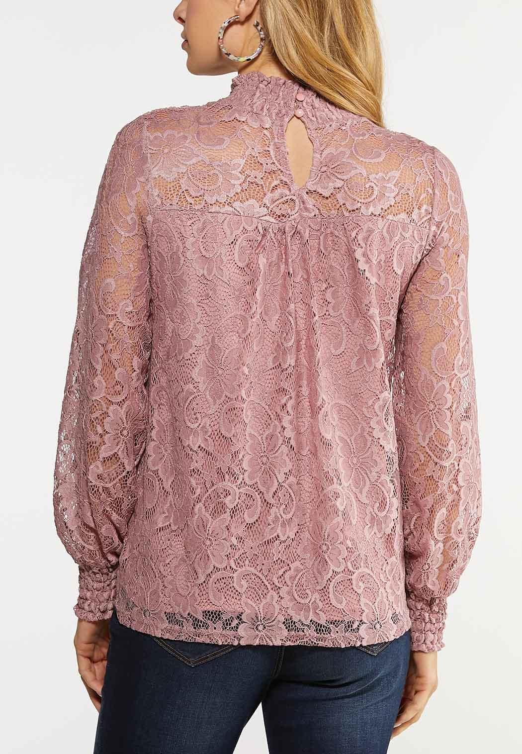 Lace Mock Neck Top (Item #44077609)