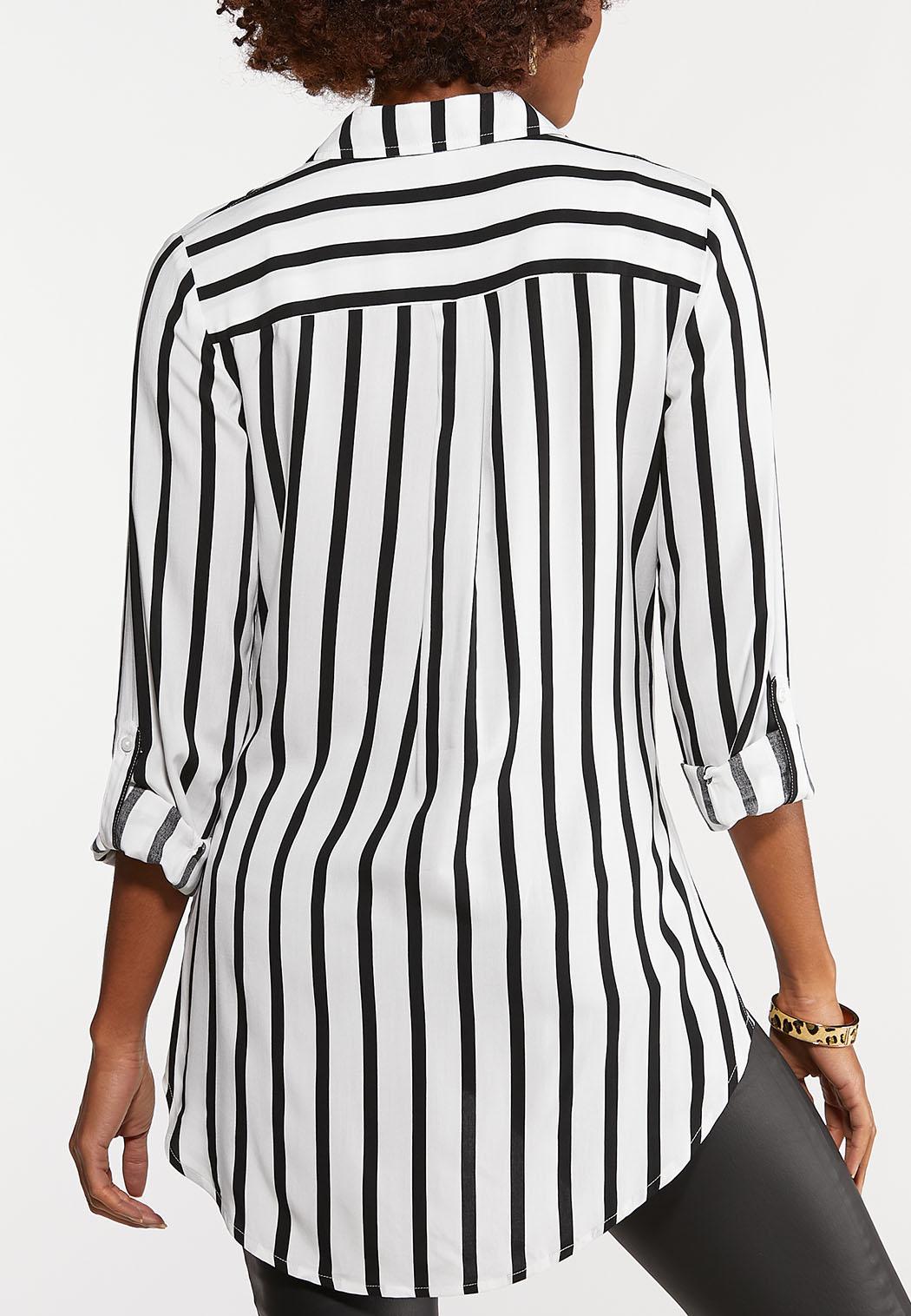 Plus Size Modern Mixed Stripe Shirt (Item #44077713)