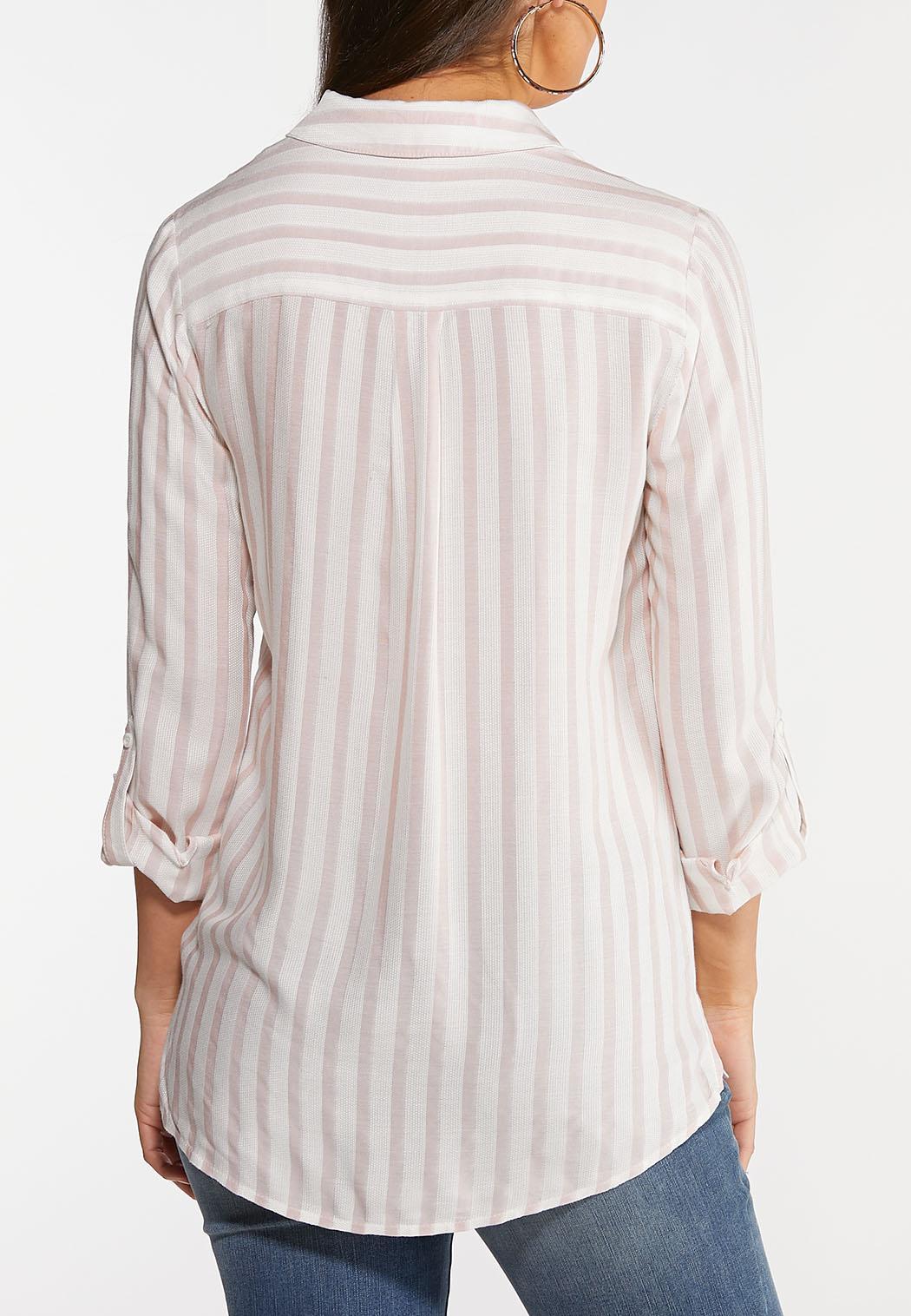 Plus Size Textured Stripe Top (Item #44077809)