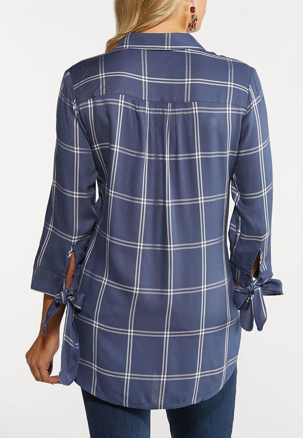 Plus Size Plaid Tie Sleeve Shirt (Item #44077833)