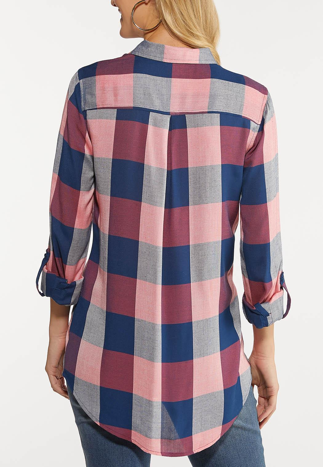 Plus Size Mauve Plaid Shirt (Item #44077876)