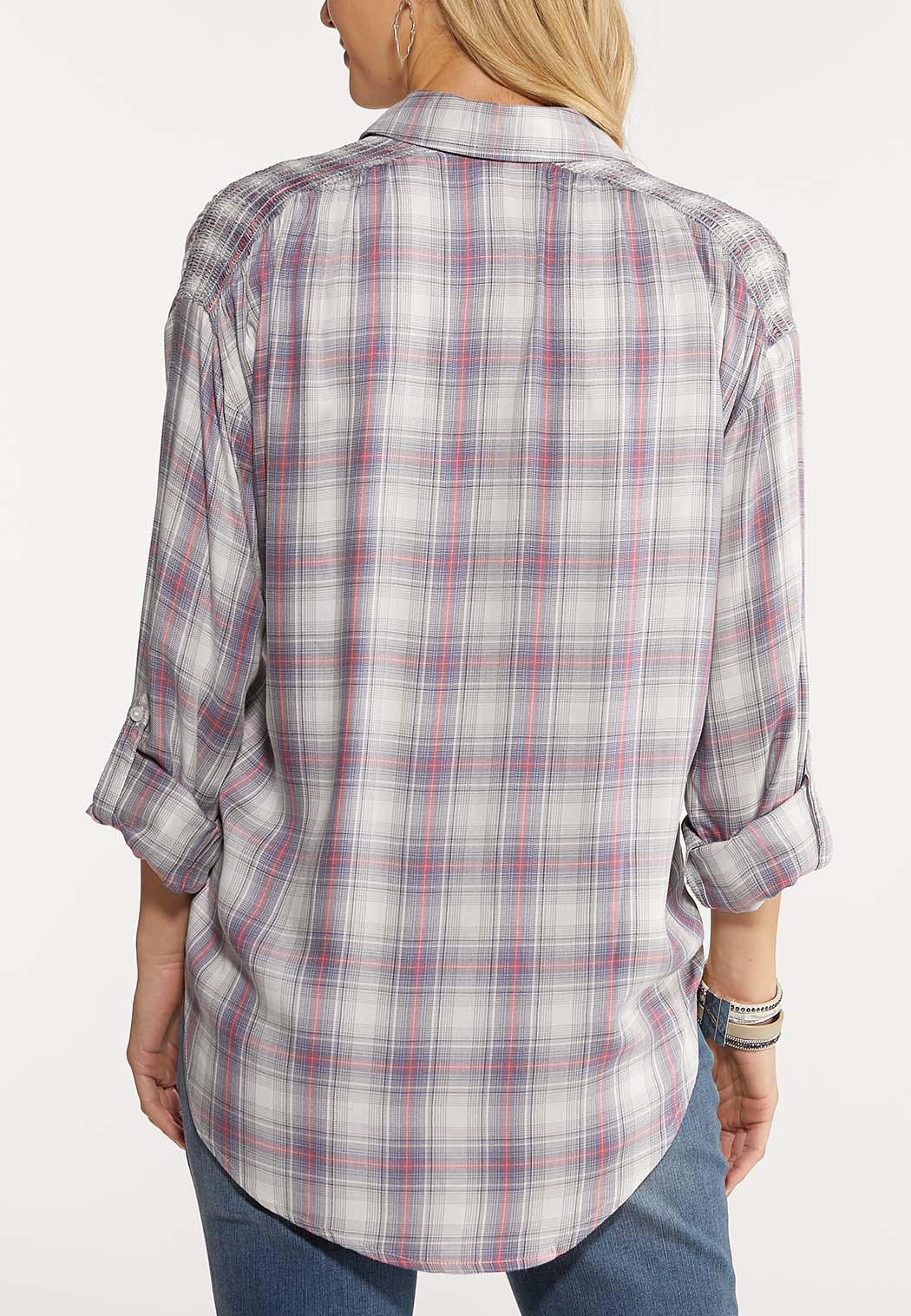Plus Size Plaid Pullover Shirt (Item #44077935)