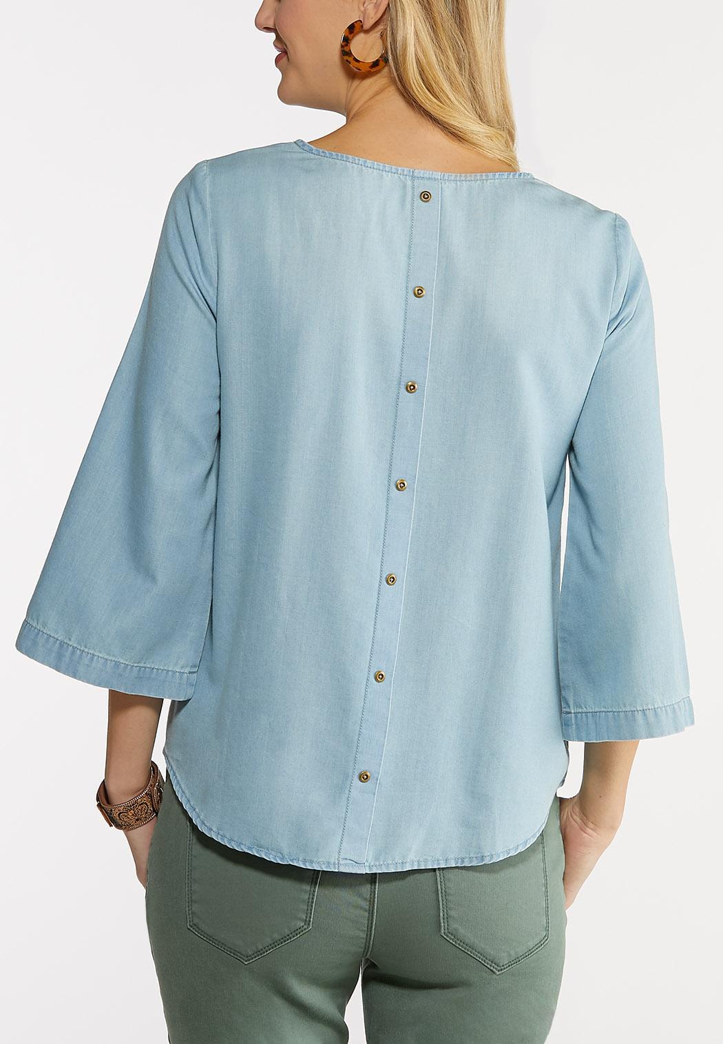 Plus Size Button Back Chambray Shirt (Item #44078230)