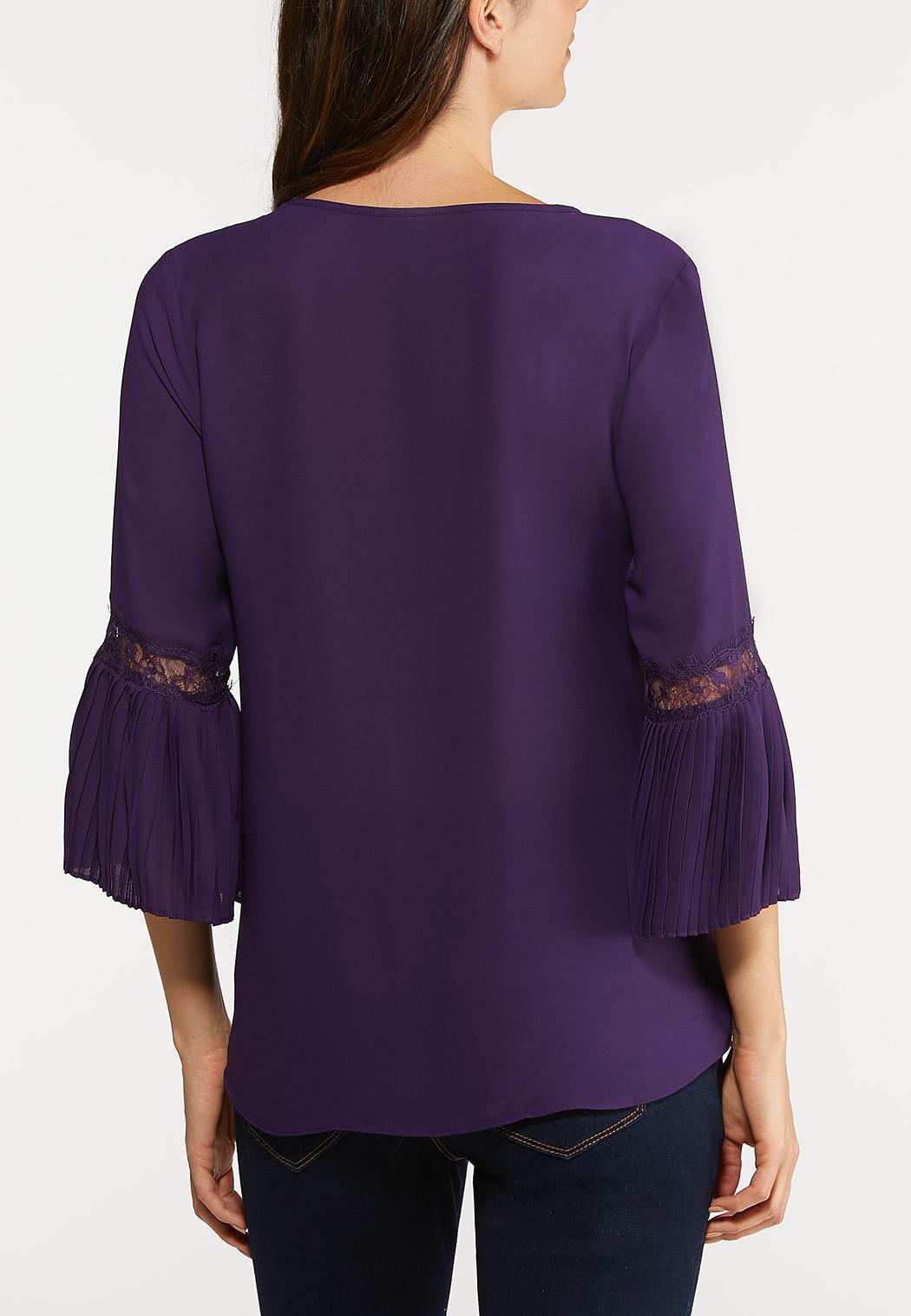 Purple Pleated Sleeve Top (Item #44078504)