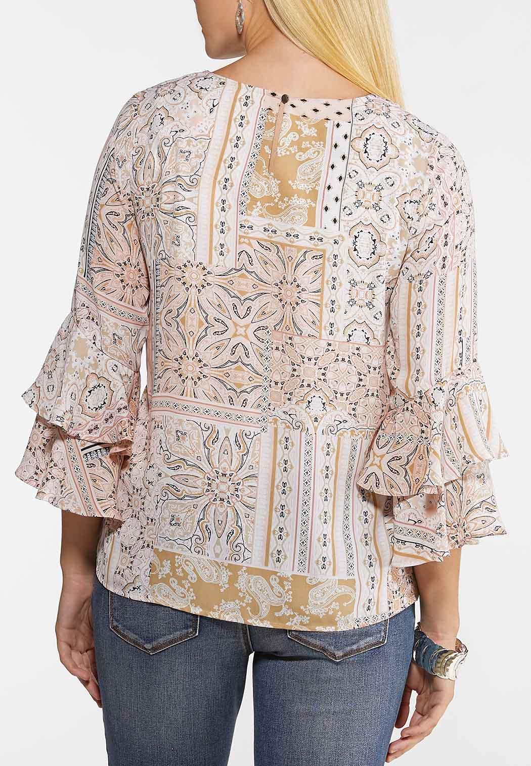 Plus Size Blush Tiered Sleeve Top (Item #44078576)