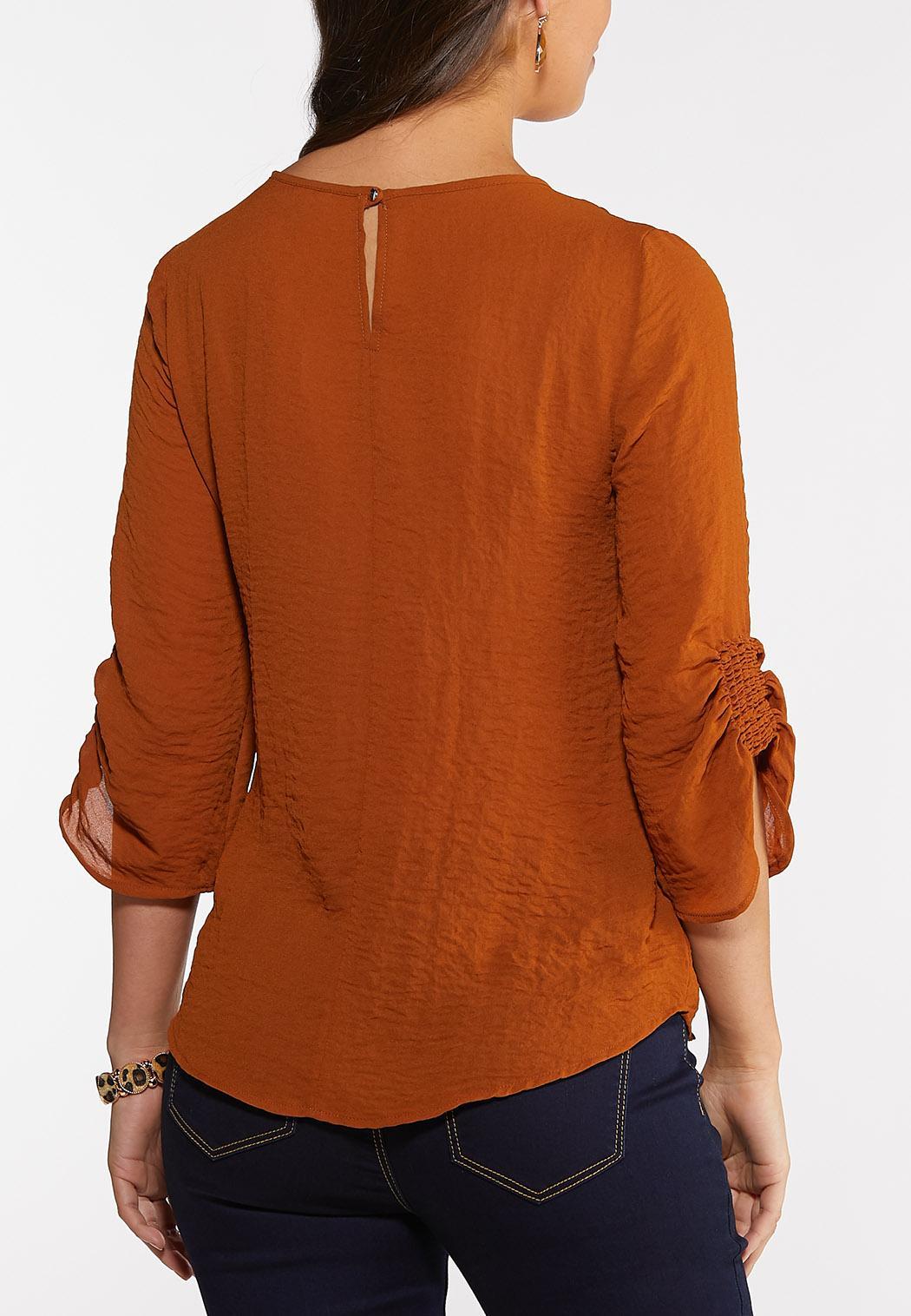 Plus Size Smocked Sleeve Top (Item #44078762)