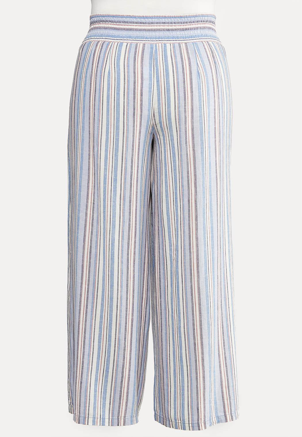 Plus Size Blue Linen Pants (Item #44079031)
