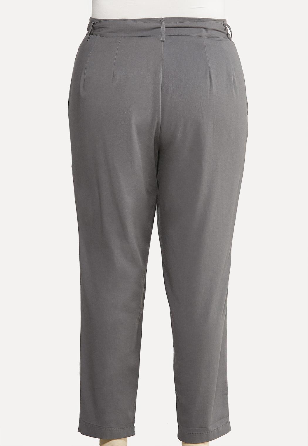 Plus Size Paperbag Tie Waist Pants (Item #44079099)
