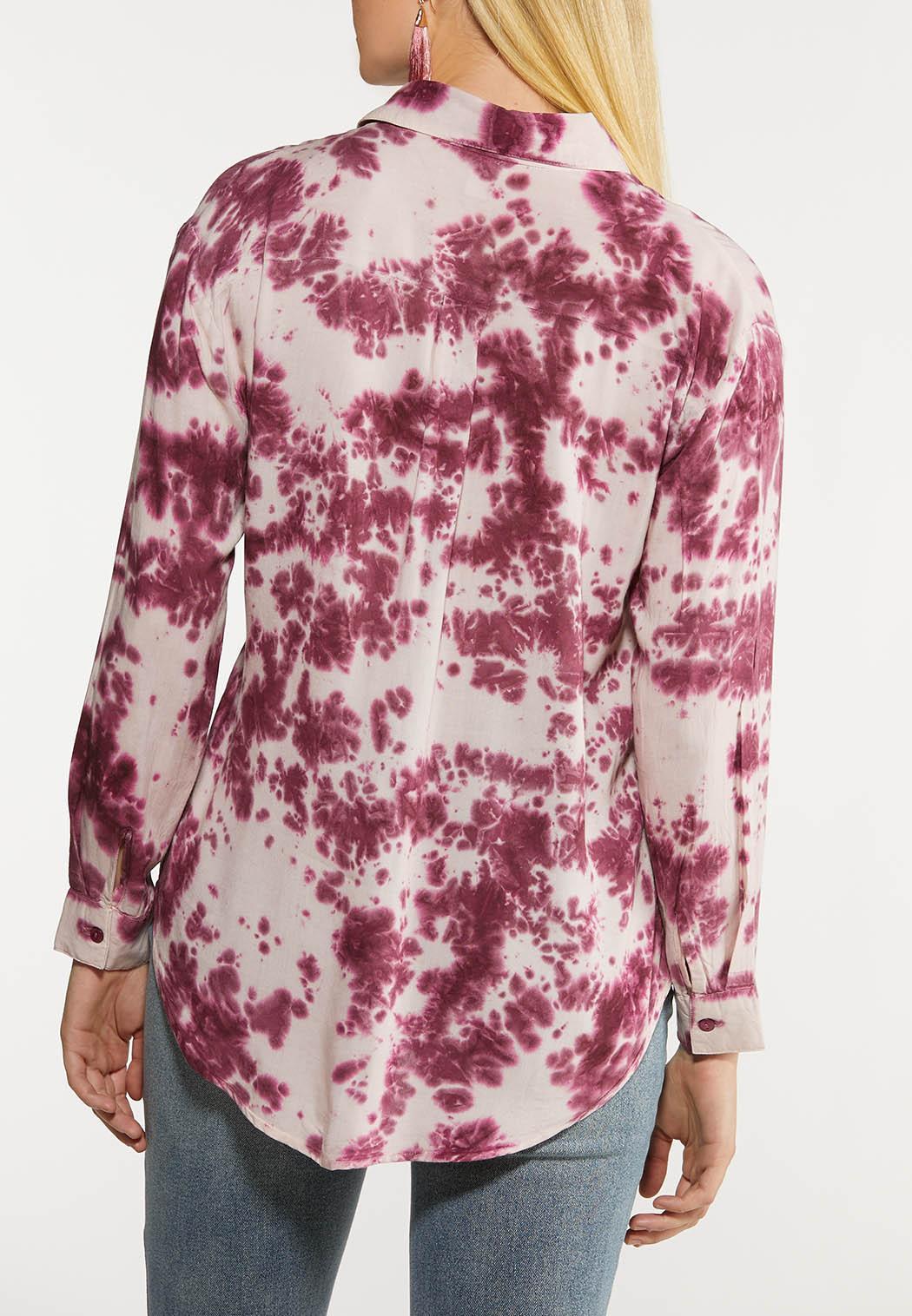 Plus Size Tie Dye Tie Front Shirt (Item #44079395)