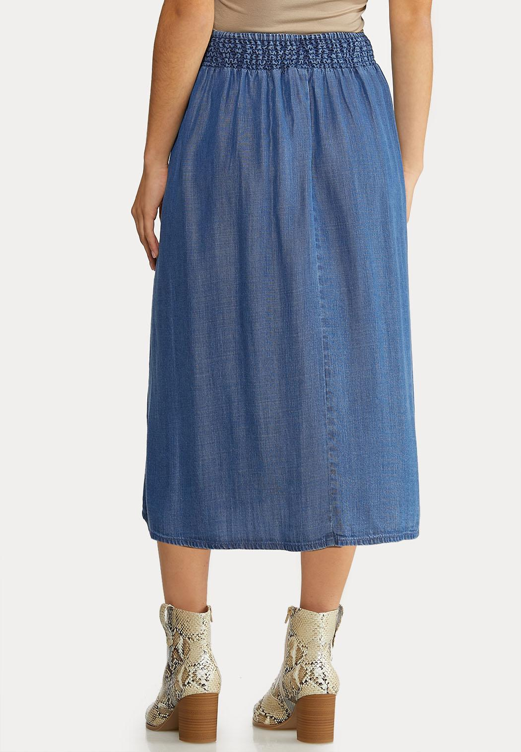 Plus Size Chambray Button Down Skirt (Item #44080260)