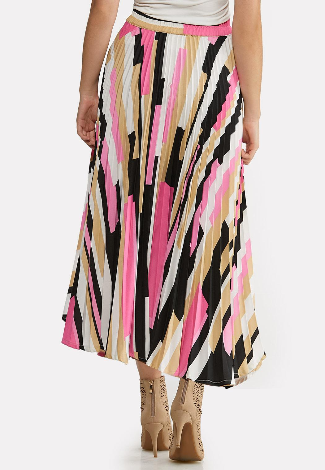 Plus Size Asymmetrical Pleated Skirt (Item #44080305)