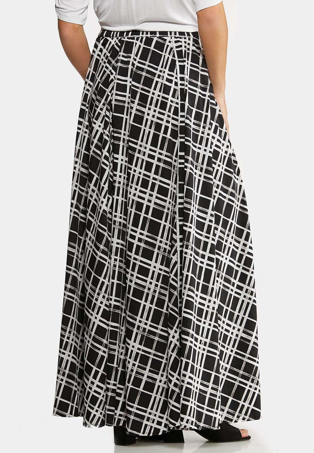 Plus Size Windowpane Maxi Skirt (Item #44080353)