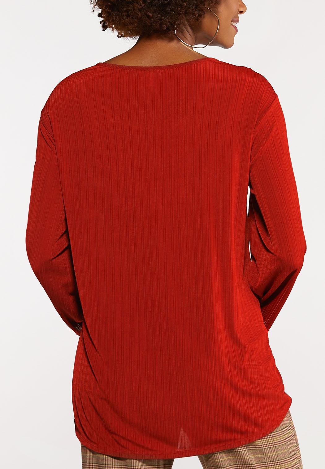 Plus Size Ribbed Twist Tie Top (Item #44081065)