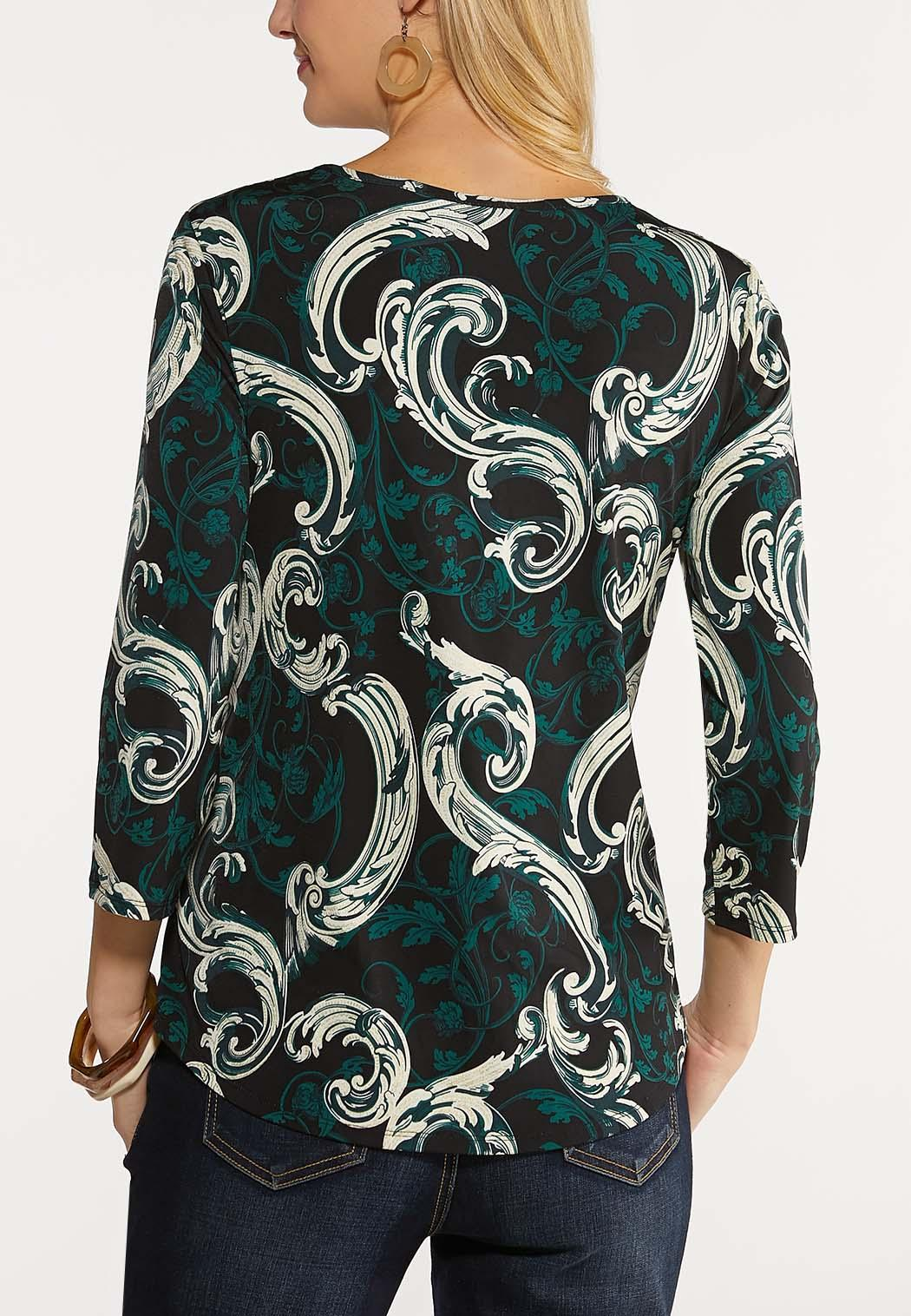 Plus Size Embellished Sparkle Paisley Top (Item #44081790)