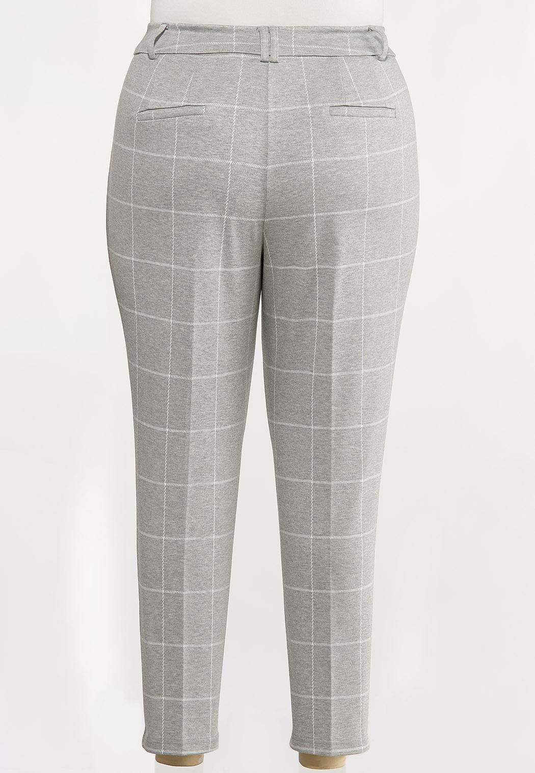 Plus Size Plaid Knit Pants (Item #44082684)