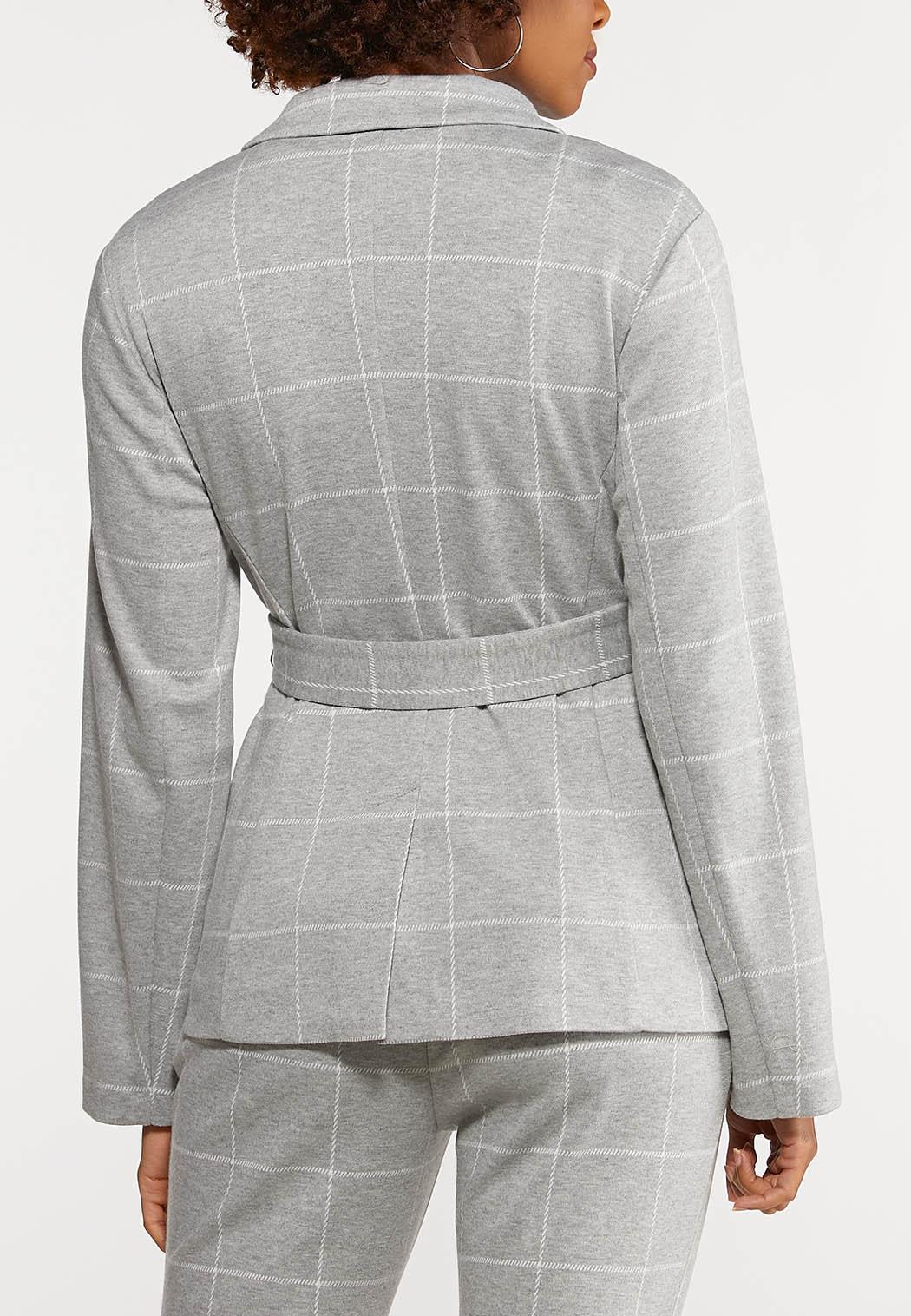 Plus Size Plaid Knit Blazer (Item #44082870)