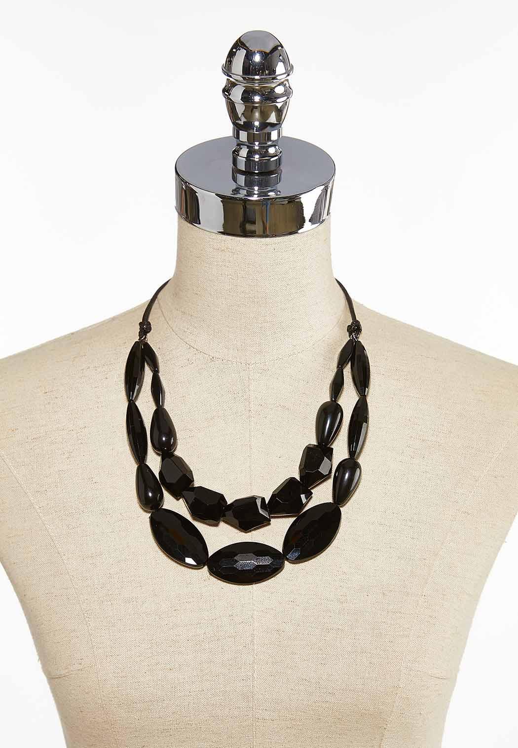 Black Bead Cord Necklace (Item #44083986)