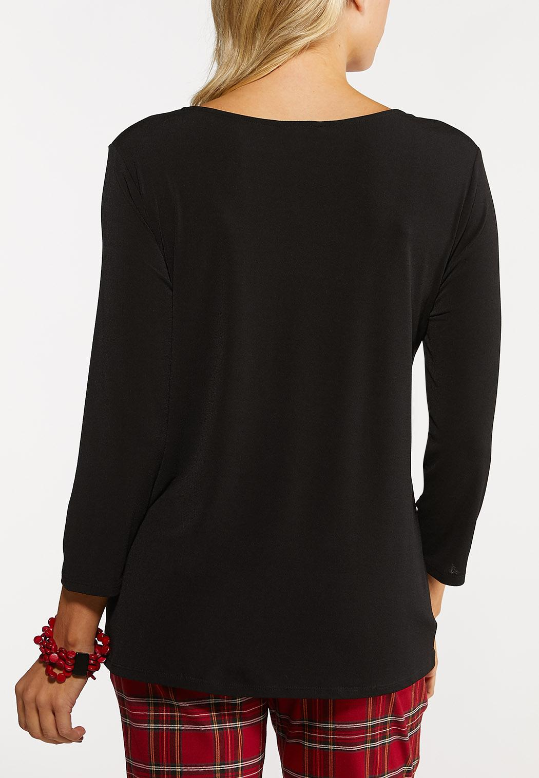 Plus Size Black Cutout Shirt (Item #44084278)