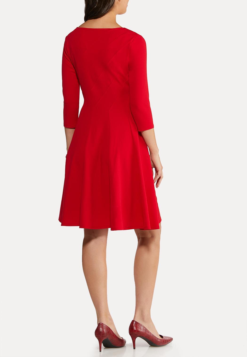 Plus Size Red Seamed Midi Dress (Item #44084676)