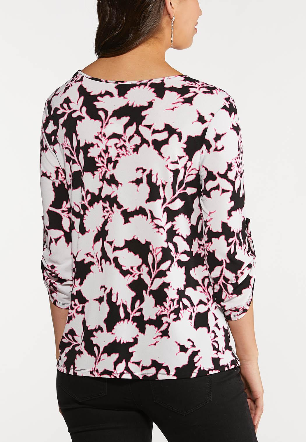 Plus Size Floral Scrunch Hem Top (Item #44084972)