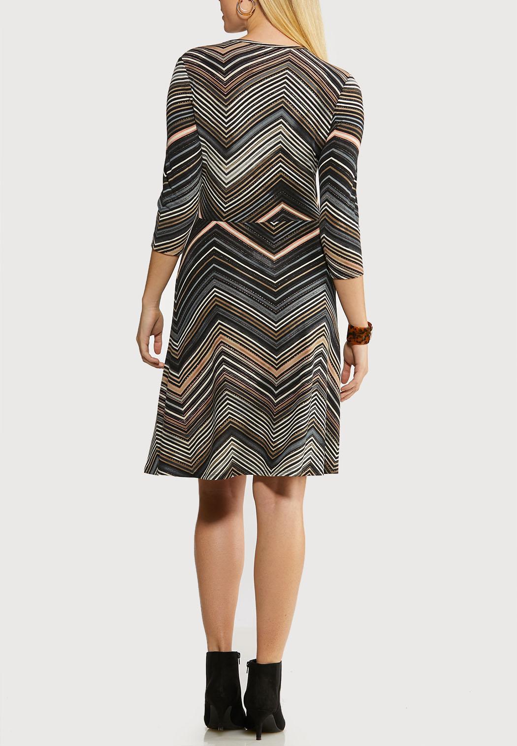 Plus Size Chevron Faux Wrap Dress (Item #44084974)