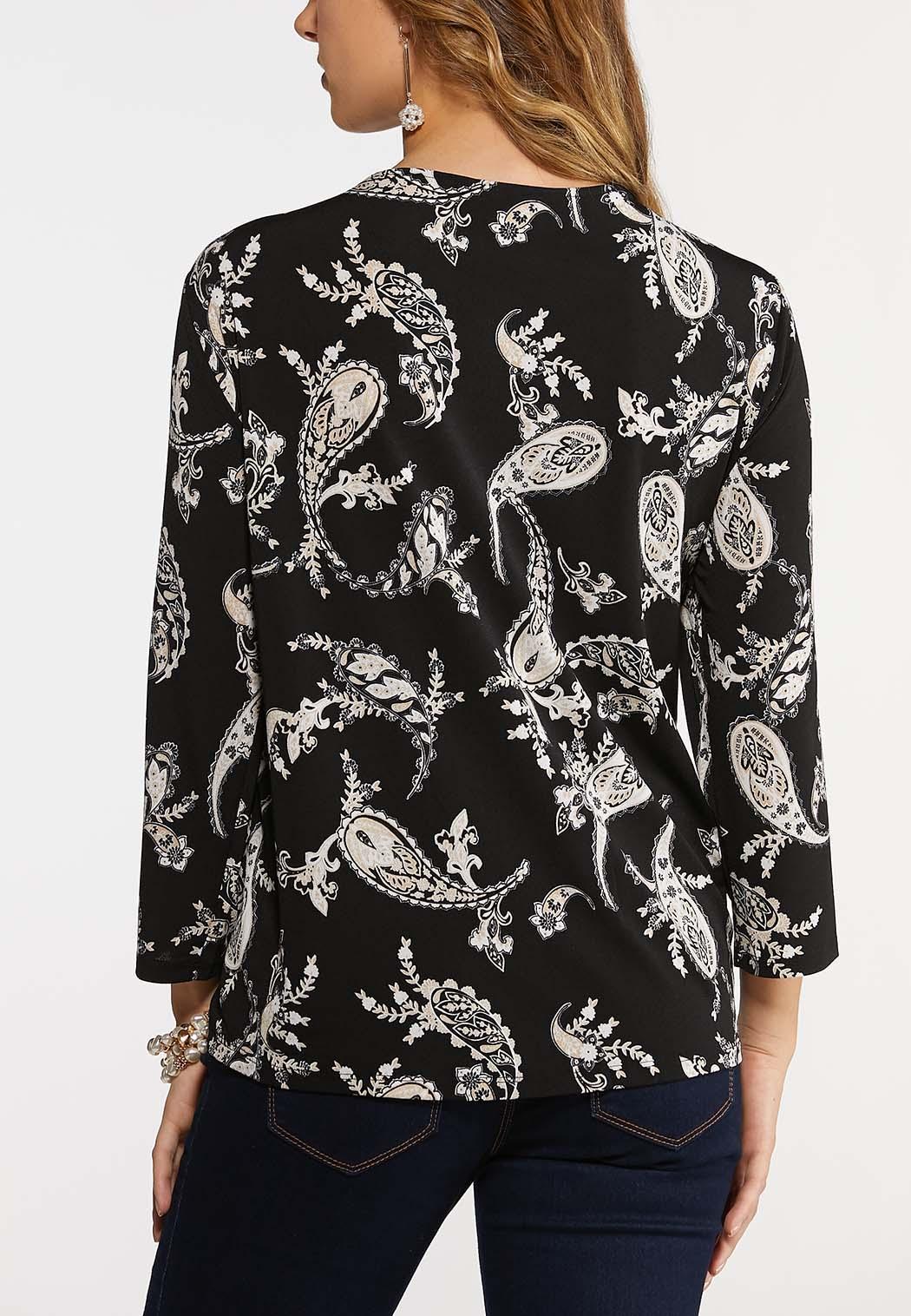 Plus Size Black Paisley Dressy Knit Top (Item #44084984)
