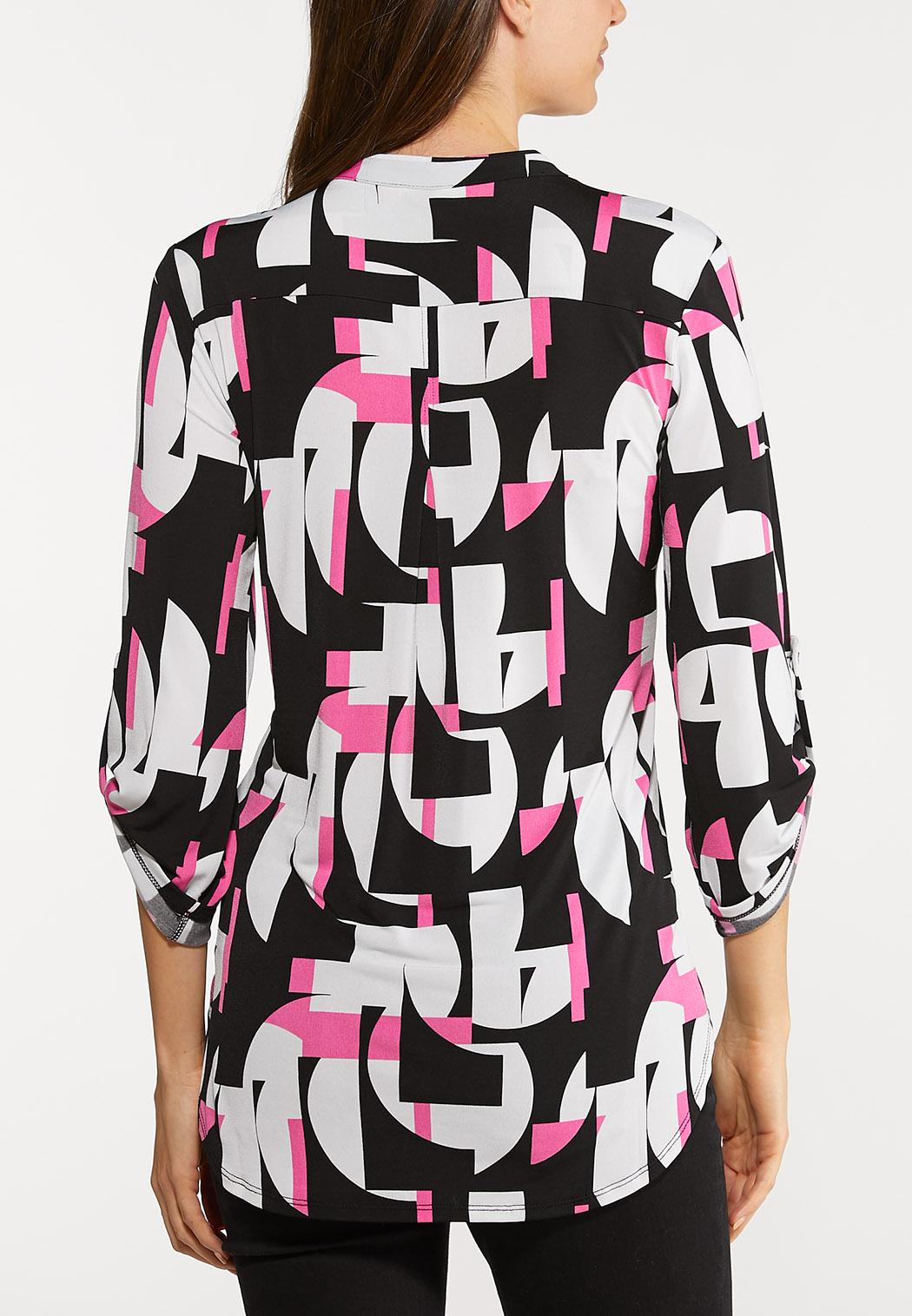 Plus Size Abstract Pullover Top (Item #44085179)