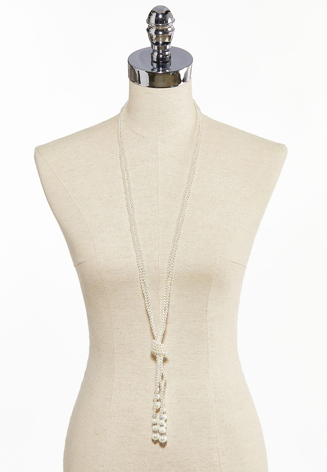 Knotted Pearl Tassel Necklace (Item #44085546)