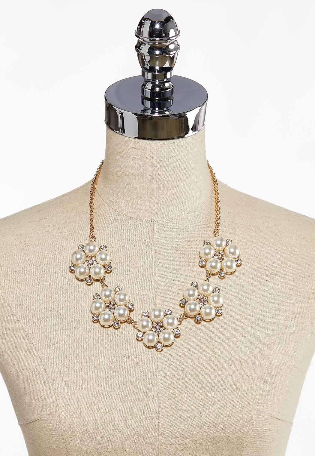 Pearl And Stone Flower Necklace (Item #44085658)