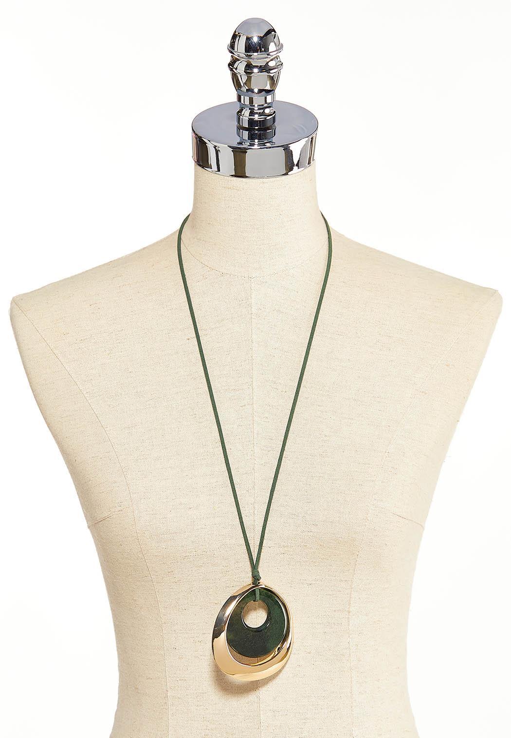 Faux Suede Cord Pendant Necklace (Item #44086397)
