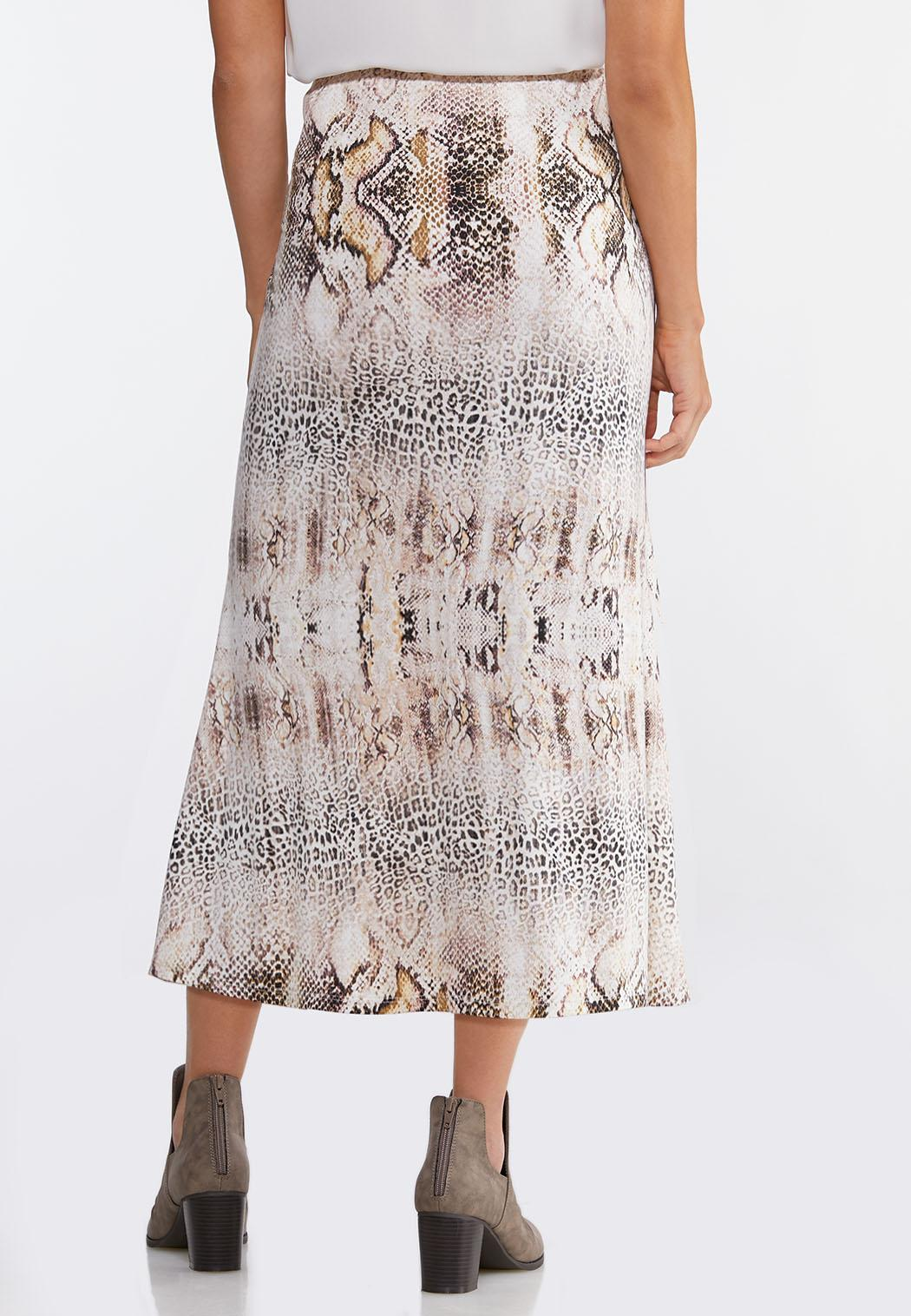 Plus Size Soft Animal Slip Midi Skirt (Item #44086443)