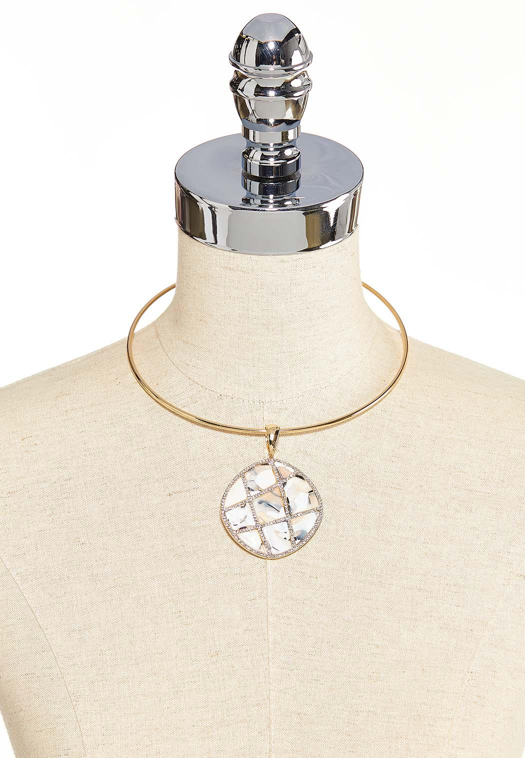 Lucite And Stone Pendant Necklace (Item #44086462)