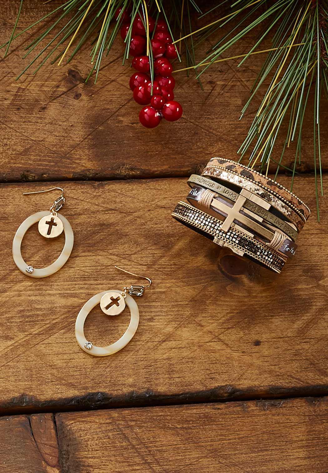 Lucite Ring Cross Earrings (Item #44086682)