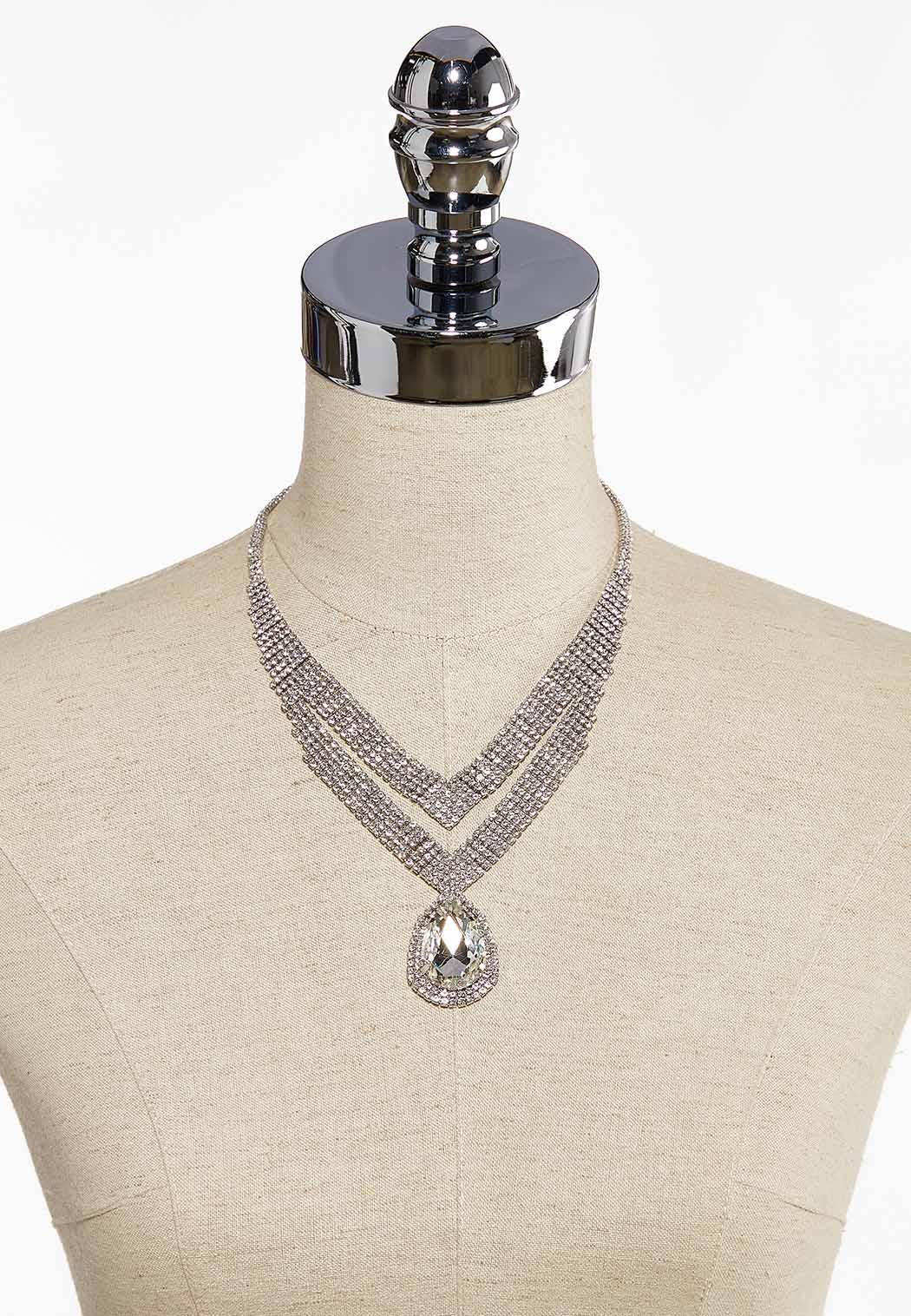 Chevron Stone Statement Necklace (Item #44087282)