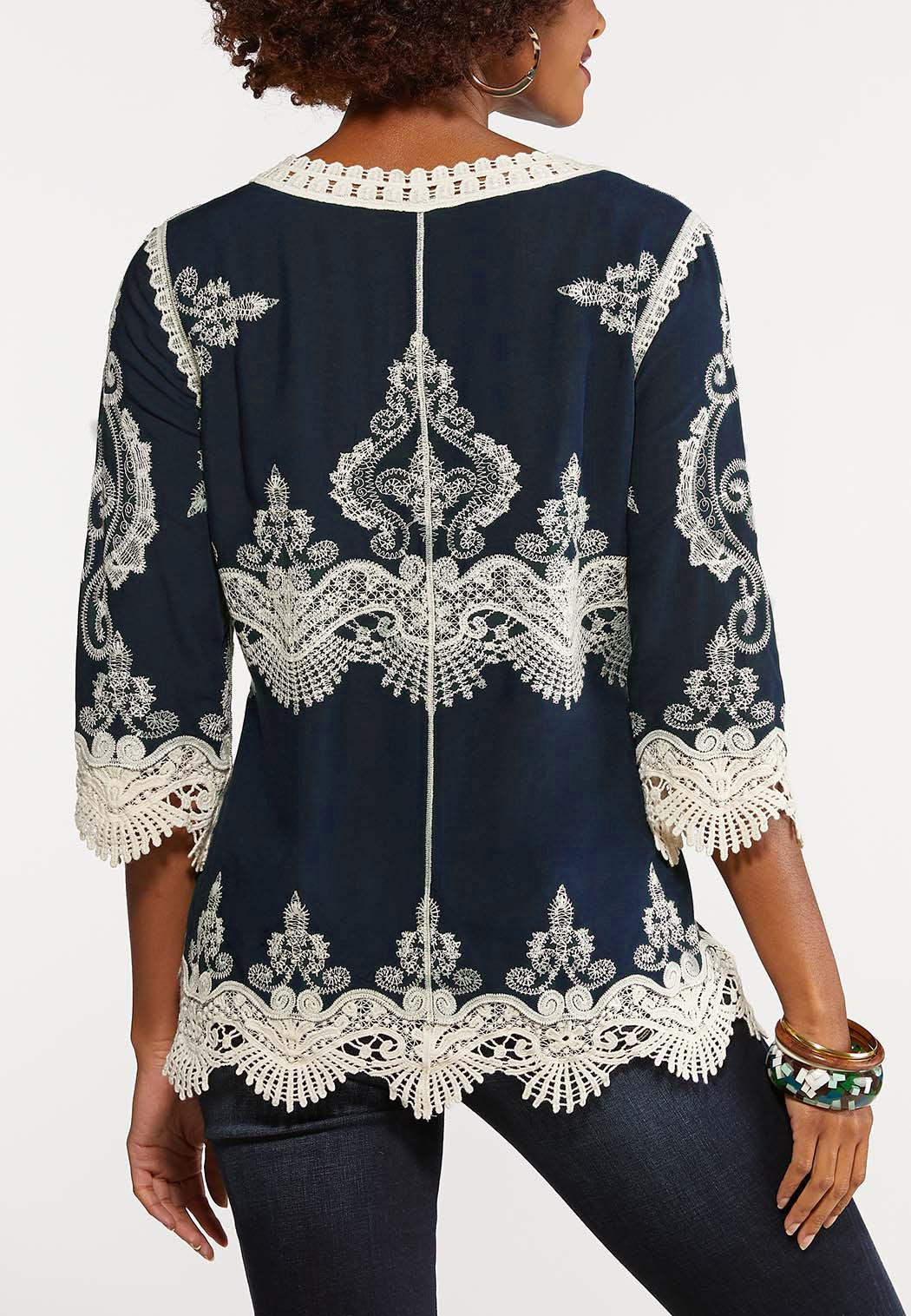 Crochet Embroidered Tunic Top (Item #44087960)