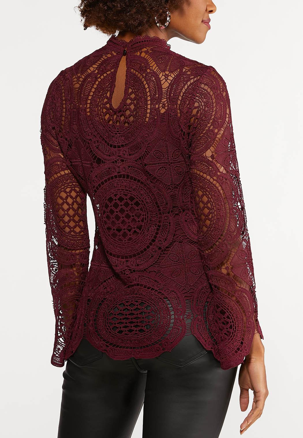Mock Neck Crochet Top (Item #44088008)