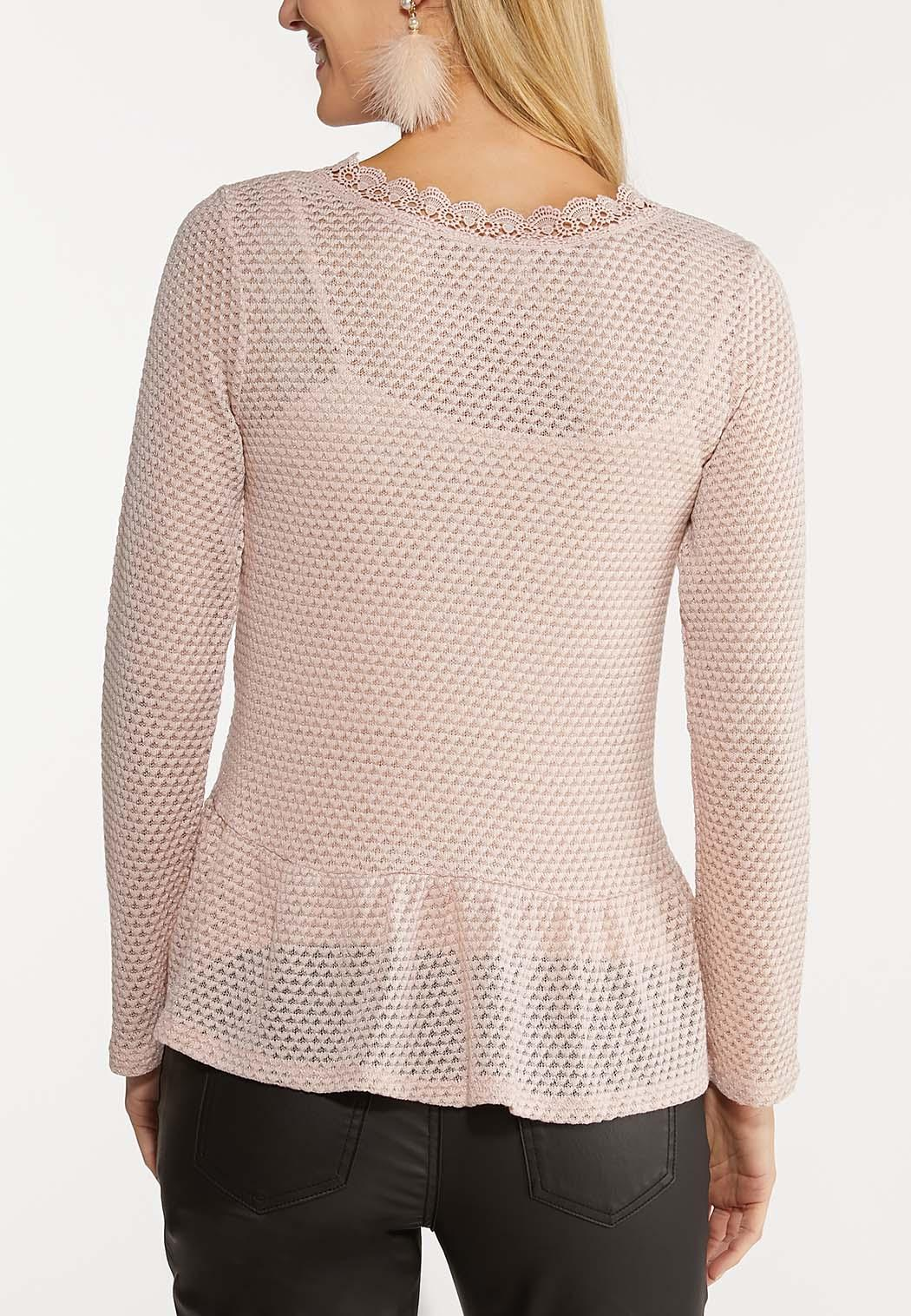 Pink Ruffled Lace Trim Top (Item #44089179)