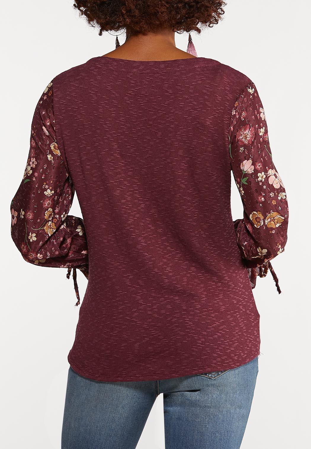 Floral Sleeve Twist Top (Item #44089270)