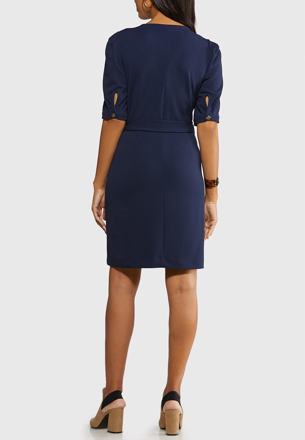 Plus Size Navy Tie Front Dress (Item #44089740)