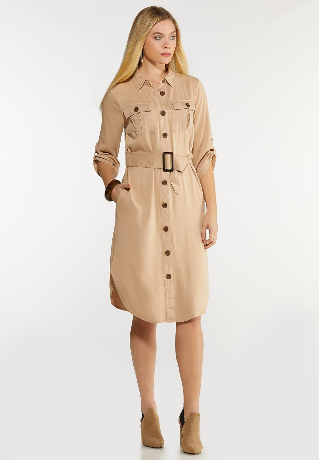 Belted Utility Shirt Dress (Item #44089784)