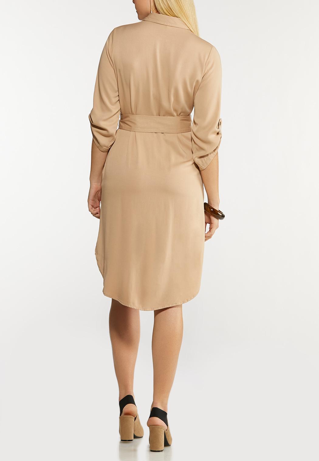 Plus Size Belted Utility Shirt Dress (Item #44089822)