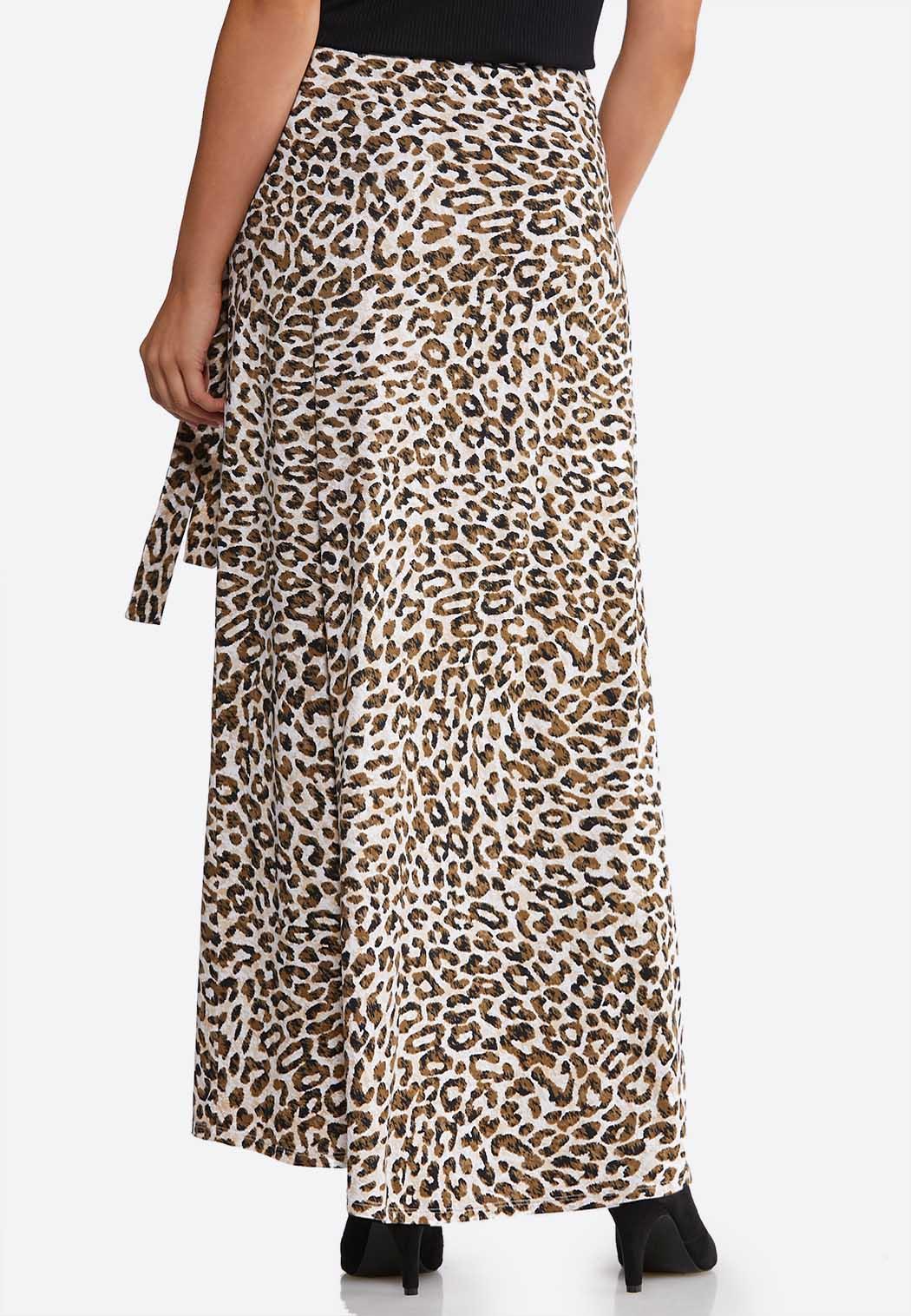 Plus Size Leopard Faux Wrap Maxi Skirt (Item #44091072)