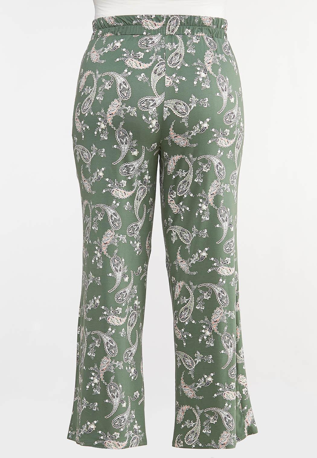 Plus Size Green Paisley Palazzo Pants (Item #44091141)