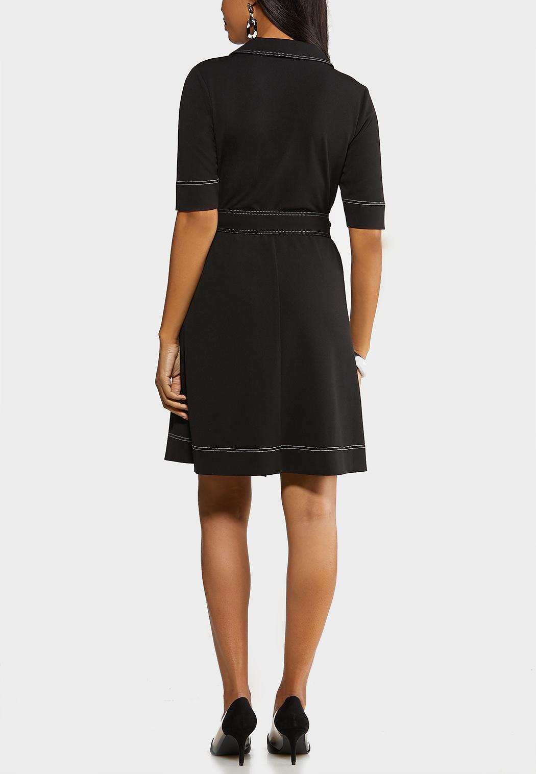 Contrast Stitch Wrap Dress (Item #44091582)