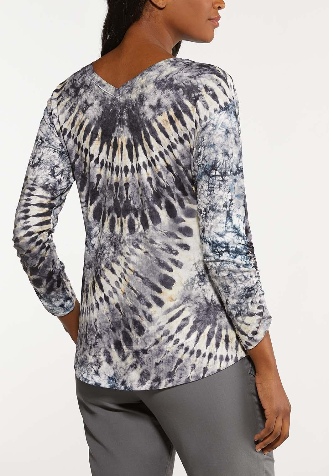 Plus Size Ruched Tie Dye Top (Item #44091787)
