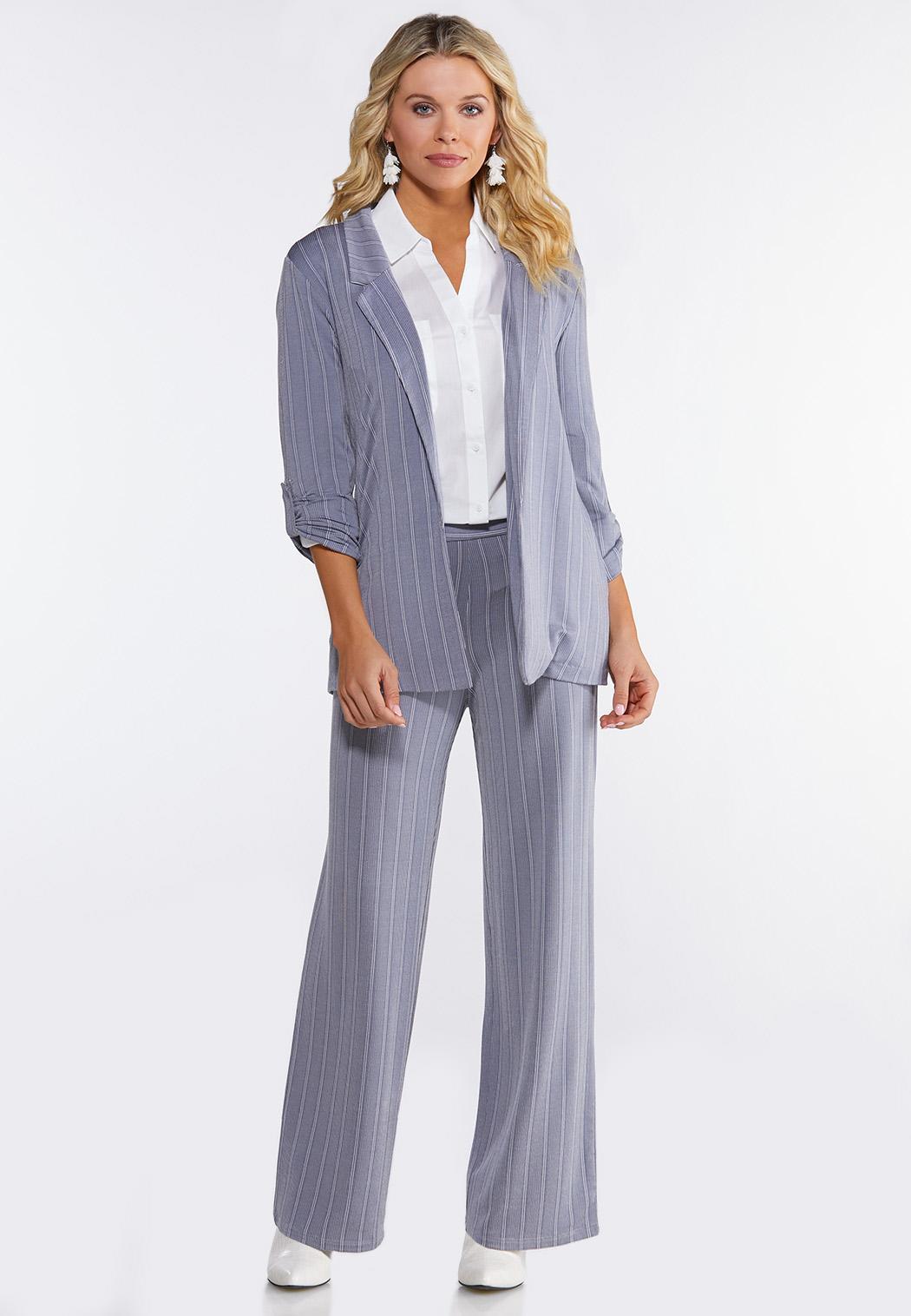 Plus Size Stripe Knit Blazer (Item #44092222)