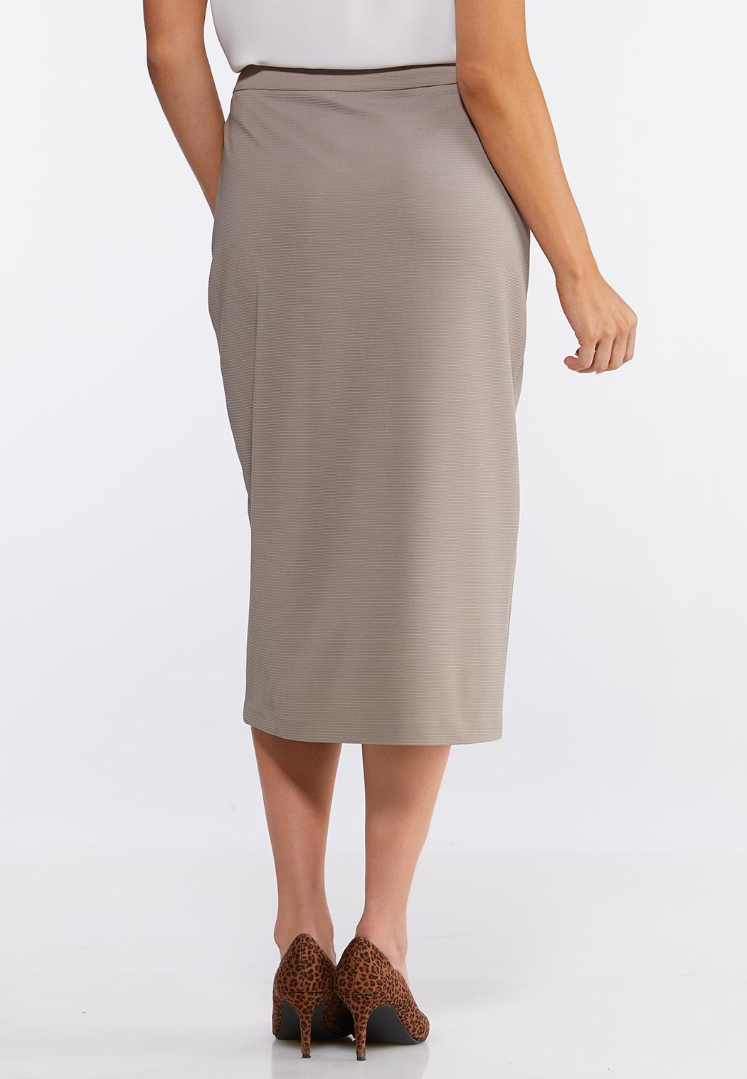 Plus Size Button Down Pencil Skirt (Item #44092240)